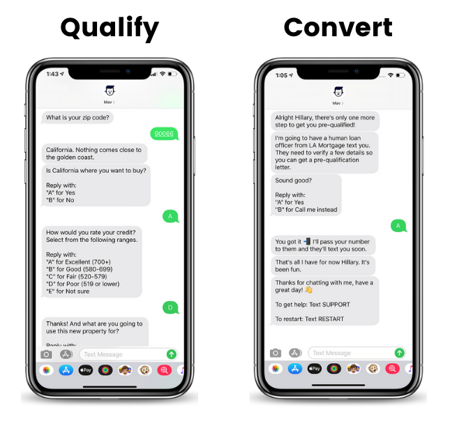 Automated texting for lead qualification